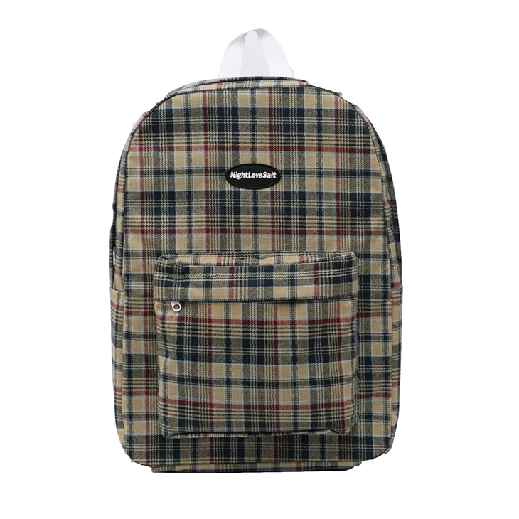 NLS cozy check backpack [cocoa]