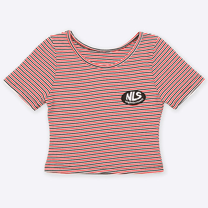 NLS stripe crop tee [red]